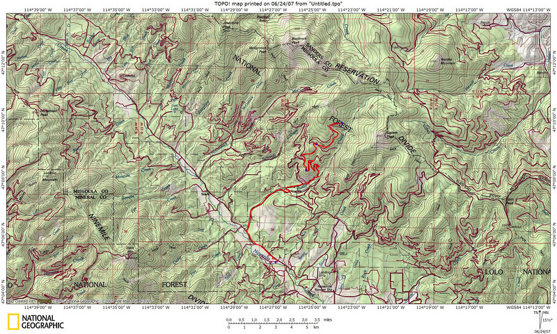 Our tracks (in red) from my dads place to Butler Creek Rd and on to FR 5507 & FR 5506.