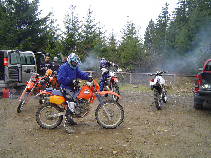 Getting the bikes and bodies warmed up. Here's Bill almost ready to ride.