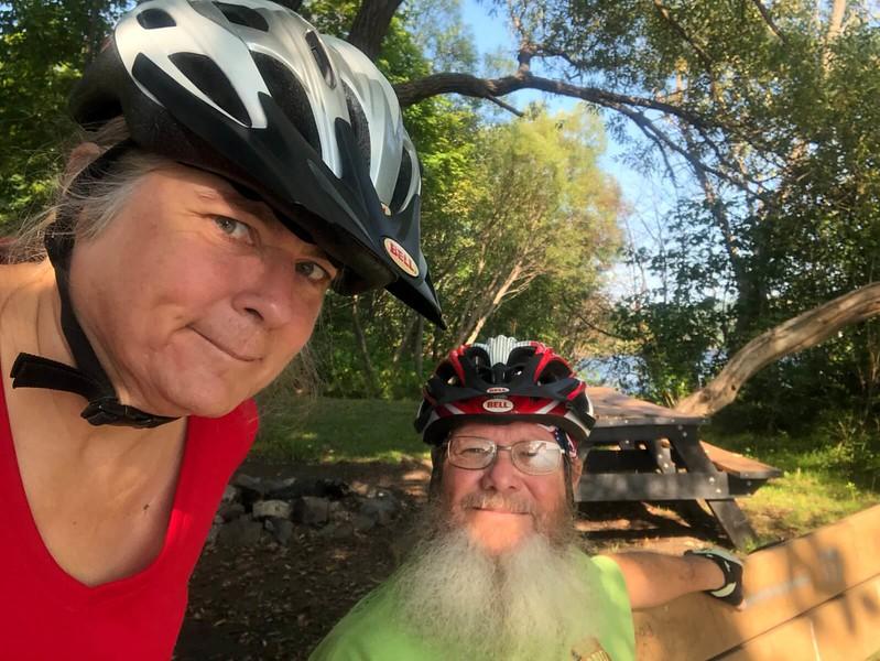 Sandra and John biking Houghton Michigan