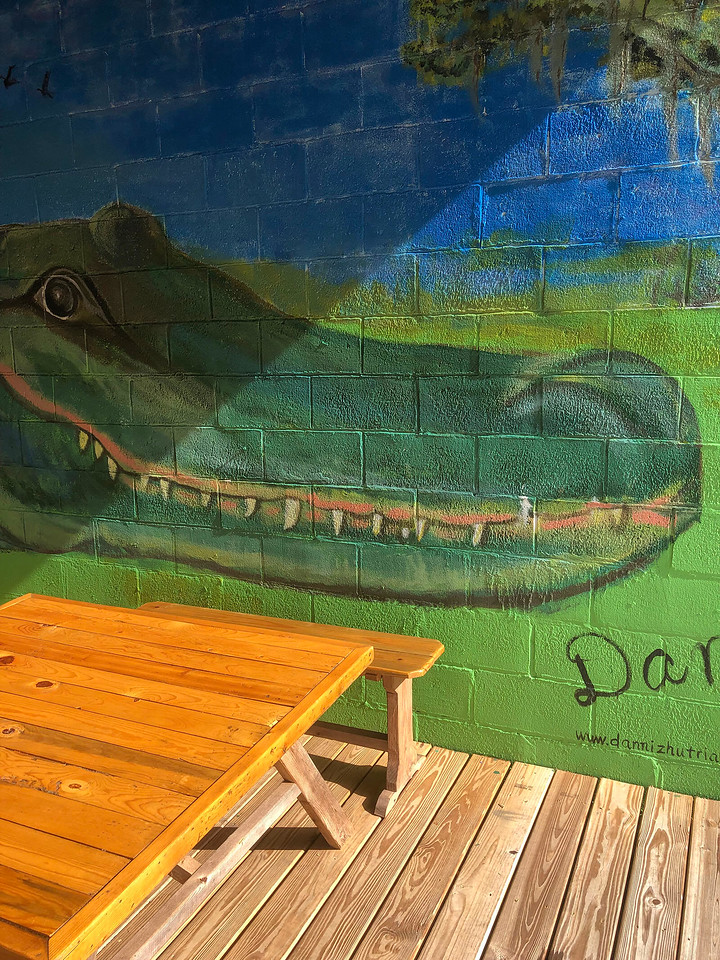 Alligator mural and picnic bench