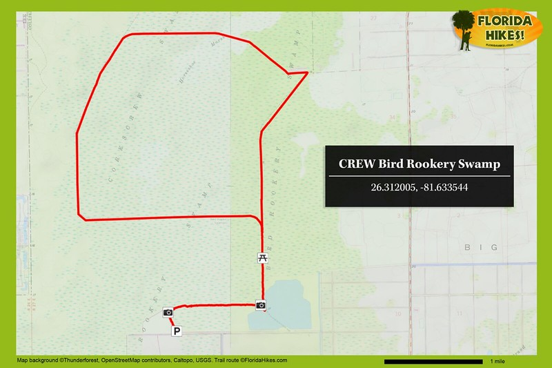 CREW Bird Rookery Trail Map