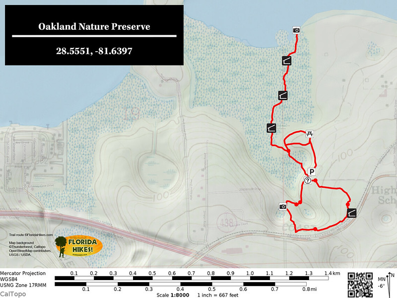 Oakland Nature Preserve Trail Map