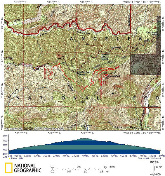 Track and profile of my run to Sunset Peak.