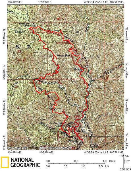 Winter Creek - Mount Zion Loop 2.21.09