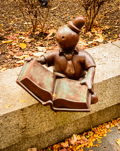 This little reader is one of a collection of little characters posing in the garden next to the Cleveland library.