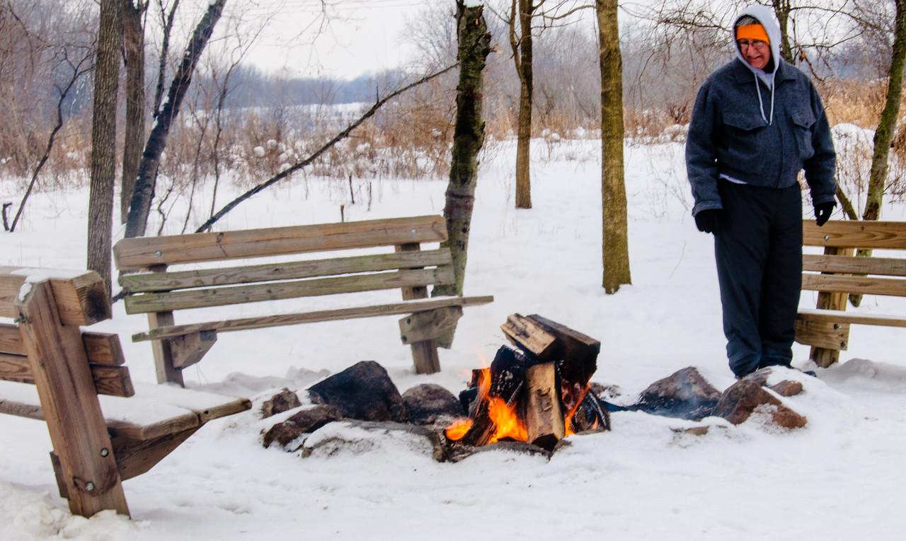 Tending the fire!