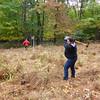 Andrea wielding the pick mattock.
