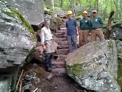 The men and their rock steps (picture by Joe Sahl).