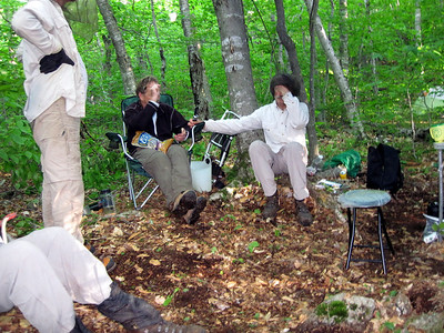 After a hard days work on the trail, Andy and Chris relax with a round of mind games (picture by Marty Costello).