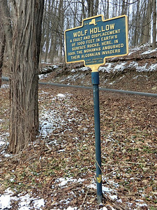 The trail goes into Wolf Hollow on a road section that is closed to traffic.