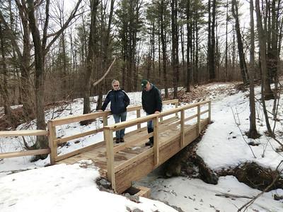 Jakob and Mark at the new bridge into the Plotter Kill Preserve (3/3/13).