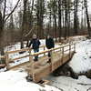Jakob and Mark at the new bridge into the Plotter Kill Preserve (3/3/13).