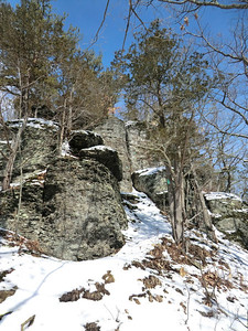 Climbing up the Middleburgh Cliffs (3-21-13).
