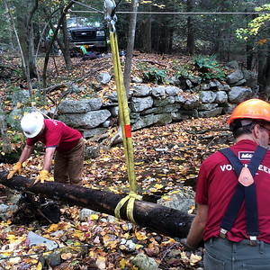 Eric Garnjost and Dave Webber clearing a log (picture Dave Booth).