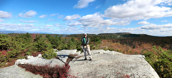 David Booth on Murray Hill with Lake Awosting and Mohonk in the background.