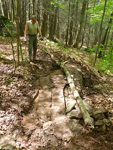 Cal admires the improved muddy section (5/21/14).
