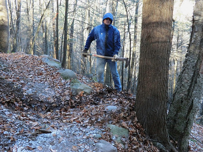 Andy cleaning a drainage on Romer Mtn. (11/24/13)