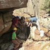 Chris, Erik, Andrew and Charley working on the crevice (5/5/13).