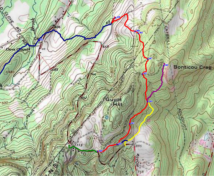 The blue and red are SRT (red was blazed 1/9/14). Yellow follows the old Bonticou Path to the SCA center.