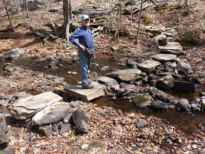 Thom inspecting the new stepping stones in Deep Hollow Brook, Harriman SP (4/19/16).
