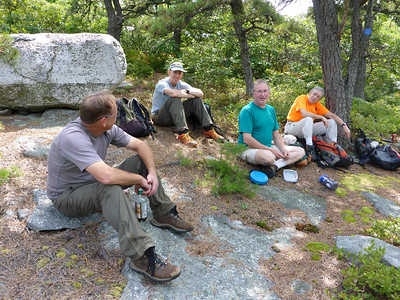 Lunch break on the ridge (Andy, Ken, Phil, Joan).