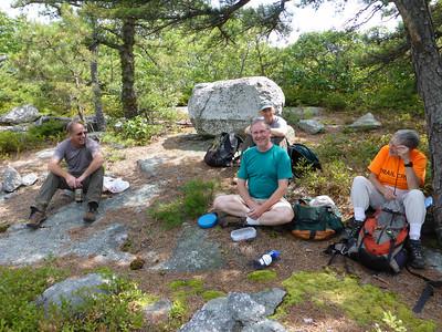 Lunch break on the ridge (Andy, Phil, Ken, Joan).