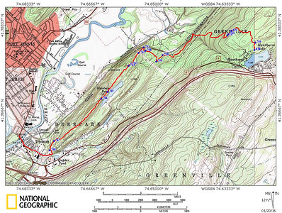 1/20/16: gps track of the Lenape Ridge Trail in Huckleberry Ridge SF.