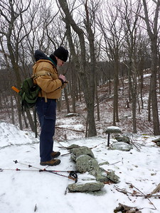 Thom taking a waypoint at metal pin, not far from the junction of the LP and Menomine Trail.