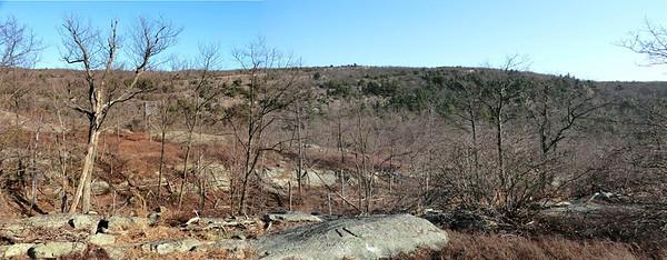 Schunemunk eastern ridge viewed from the western ridge (4/5/13).