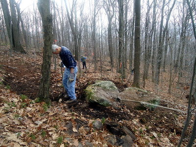 11/9/12 - Getting the big rock rigged (picture by Connie).
