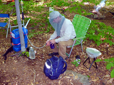 Erik filtering water.