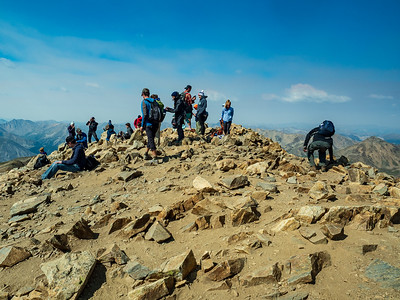 Part of the crowd on Mt Elbert. It's definitely popular. Easy to get to the trailhead, and the climb isn't too bad.