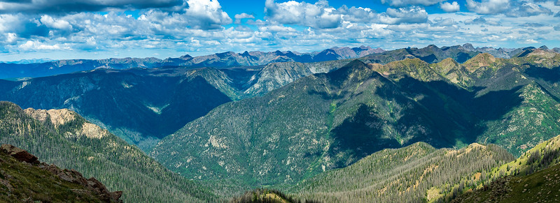 Panorama looking southwest, down the Pine River, from the summit of Graham Peak