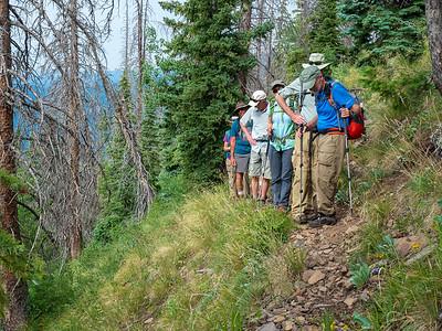 Climbing to the ridge on an elk trail
