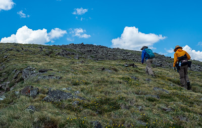 """Sue and Mary Ann approaching the """"top"""" of Table Mountain"""