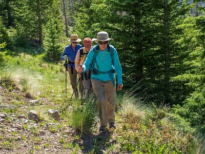 Sue, Carol and Mary Ann as we begin our climb