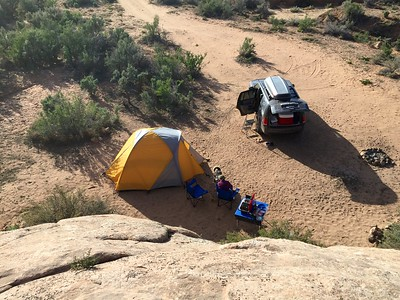View of our campsite, from the slick rock above.
