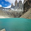 Amazing view of the towers across a turquoise glacial lake.
