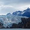 Sharp peaks behind the glacier.