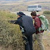As we finish our 3.3 mile hike, Andre, our local Chilean guide, has found a Calafate shrub with ripe berries, which Soon is picking. The Calafate is in the barberry family, and spiny, but the berries are a bit like blueberries. It is said that if you eat them, you will return to Patagonia. So I ate them as often as possible!