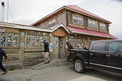 We stopped for lunch in Puerto Natales where it was very windy and rainy. From there, this gift shop/restaurant at Cerro Castillo is the last stop before entering Torres del Paine National Park. Son is hanging on to his hat in the notorious Patagonian wind.