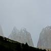 Glimpses of Las Torres shrouded in mist
