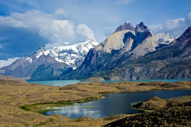 Snow-covered Paine Grande and the Cuernos.