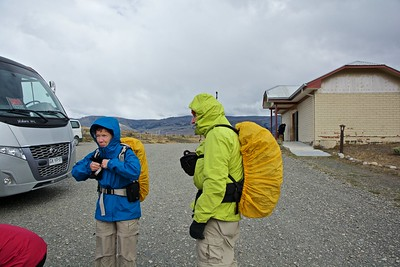 At the entrance to Torres del Paine, Susie and Roger are getting ready for our first hike.  It was windy, with a threat of rain.