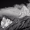 Chaltén (Fitz Roy) and Poincenot, in black and white.