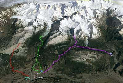 GPS tracks of our hikes in the El Chaltén area