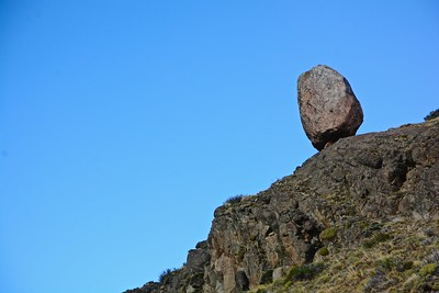 A balanced rock along the trail. Maybe the size of a small house.