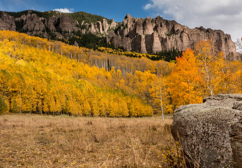 Our first afternoon stop was near Silver Jack Reservoir; lots of great aspen and interesting cliffs here.