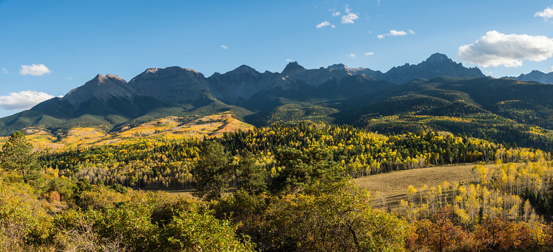 A late afternoon panorama of the eastern Sneffles range.