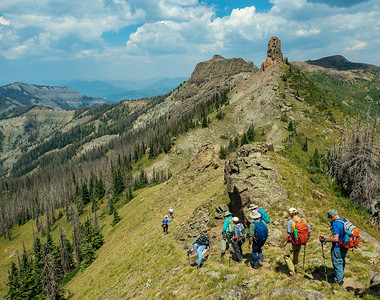 The group, descending from the ridge.